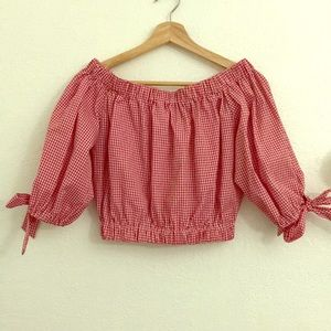 Red plaid off the shoulder crop top :)
